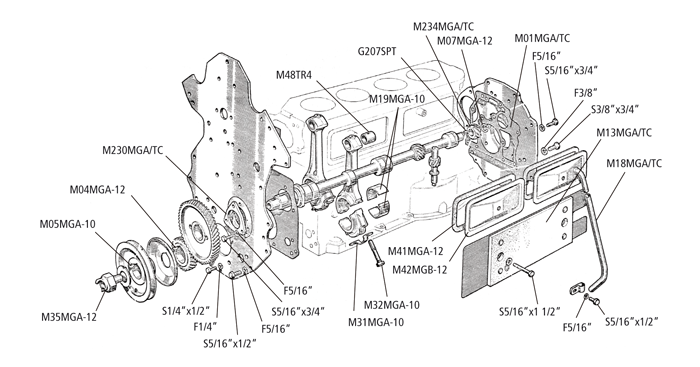 mg mga engine twin cam engine parts twin cam centre illustration